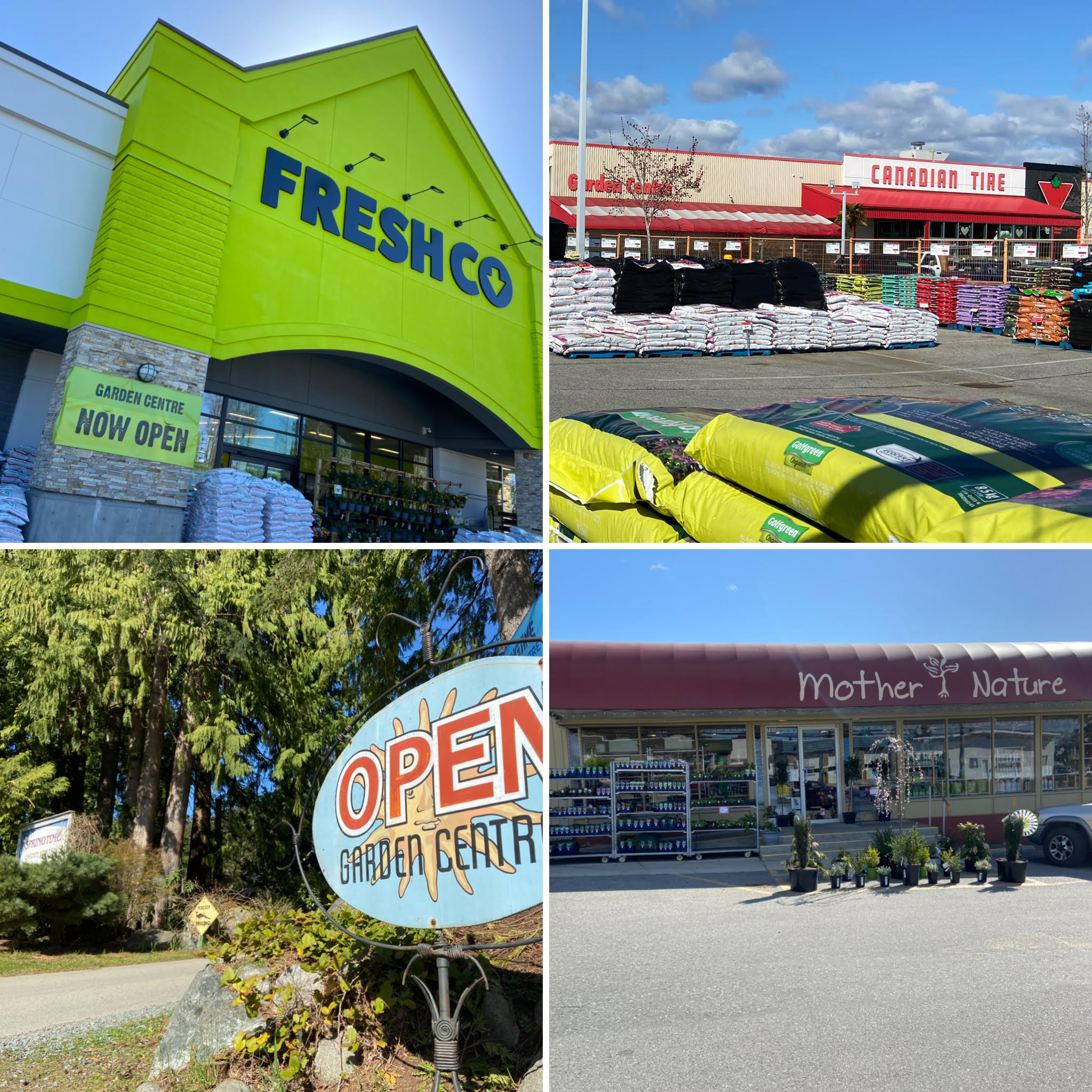 Four images of Powell River businesses with garden centres
